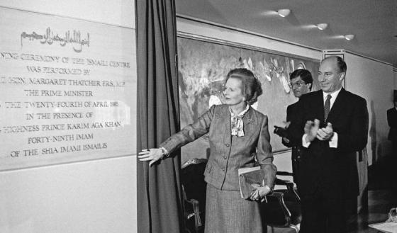 Prime Minister Margaret Thatcher unveiling the opening foundation plaque of the London Ismaili Centre in April 1985 in the presence of His Highness the Aga Khan, with President Anil Ishani of the Ismaili Council for the UK looking on. Photo: Ismaili Forum