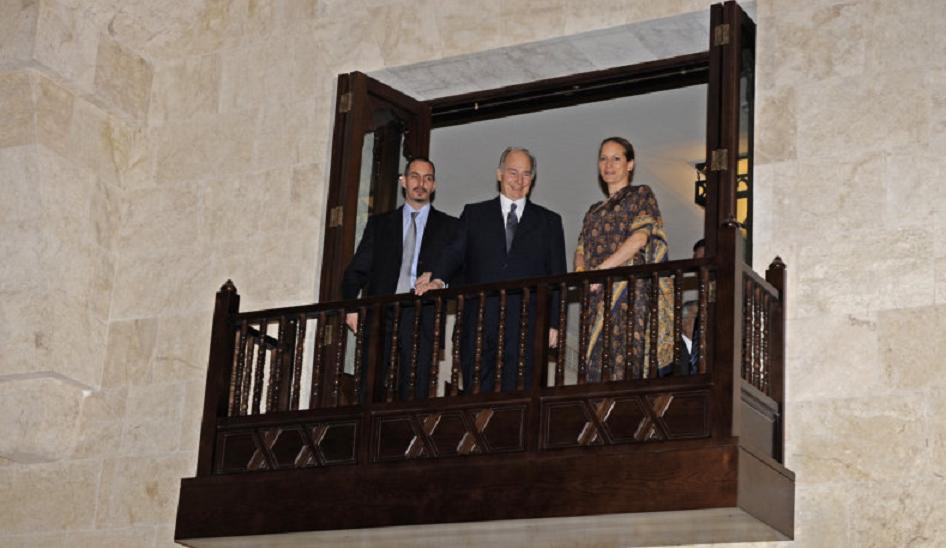 His Highness the Aga Khan, center, with his son Prince Rahim and daughter Princess Zahra overlooking the entrance hall of the Ismaili Centre Dubai from the balcony above on the opening day on March 26, 2008. Photo: akdn/Gary Otte.