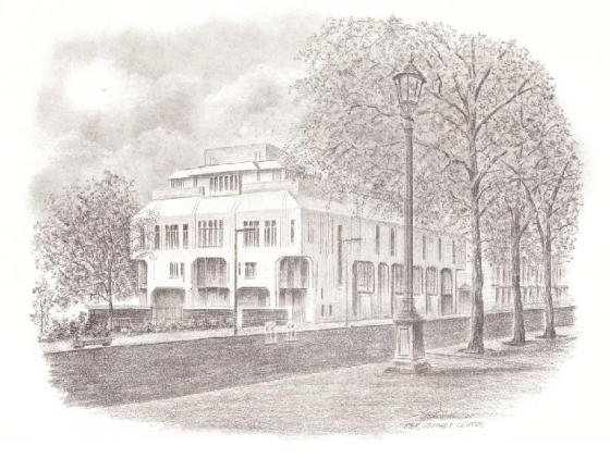 A sketch of the modern Ismaili Centre at Cromwell Gardens in South Kensingon, London, as depicted on invitation cards distributed in 1985. The Centre is the focal point of the Ismaili community in the UK  and was opened on April 24, 1985 Baroness Margaret in the presence of His Highness the Aga Khan.
