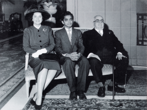 Mr. Akber Premji seated next to Mawlana Sultan Mahomed Shah and Begum Aga Khan.