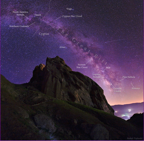 An annotated version of a meteor's streak and the arc of the Milky Way hanging over the imposing mountain fortress of Alamut in this starry scene. Highlights in this photo include bright white stars Deneb (in Cygnus), Vega, and Altair, nebulae near the Galactic Center, and the dark obscuring dust clouds of the Milky Way also known as the Great Rift. Photo: Babak Tafreshi. Copyright.
