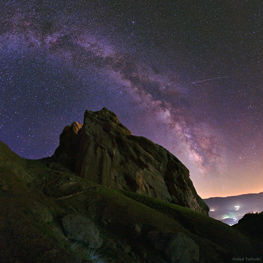 As seen on NASA's Astronomy Picture of the Day and the National Geographic News a meteor's streak and the arc of the Milky Way hang over the imposing mountain fortress of Alamut in this starry scene. Photo: Babak Tafreshi/Dreamview.net . Copyright.