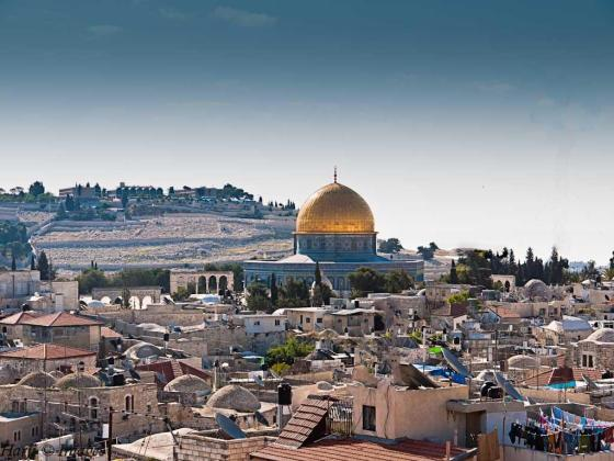 A view of old Jerusalem from the hotel room where we stayed. The Dome of the Rock is in the foreground and Mount of Olives in the background. Photo: Muslim Harji, Montreal, PQ. Copyright.