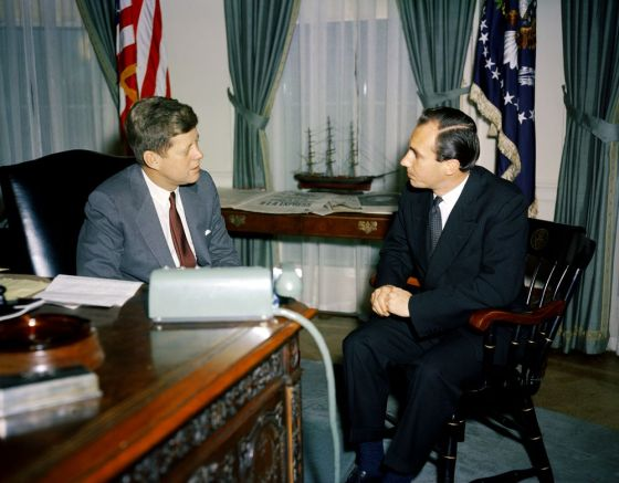 President John F. Kennedy addressed the Canadian Parliament in 1961. Here he is seen meeting with His Highness the Aga Khan, Prince Karim al-Husseini, at the Oval Office, White House, on March 14, 1961. The Ismaili Imam had first met the President in France some six years earlier. Photo: Robert L. Knudsen (Robert LeRoy), 1929-1989.