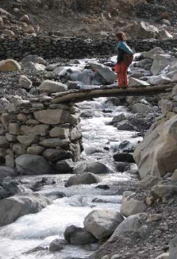 The road to school is full of potential dangers for Shimshal children. Photo: Pam Henson. Copyright.