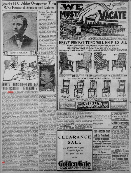"""Story headlined  """"Oriental Prince Here Incognito"""" in the January 15, 1907 edition of the """"San Francisco Call"""" includes remarks by His Highness the Aga Khan. Transcript excepts from the Library of Congress are produced below. Newspaper Image: Library of Congress, USA."""