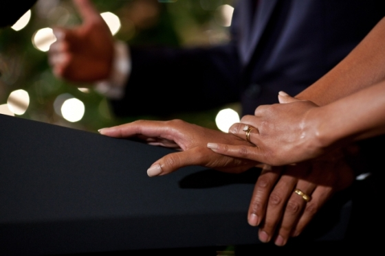 "Dec. 14, 2011 ""During one of the Christmas Holiday receptions at the White House, I noticed the First Lady's hands resting on the podium as the President made brief remarks."" (Official White House Photo by Pete Souza)"