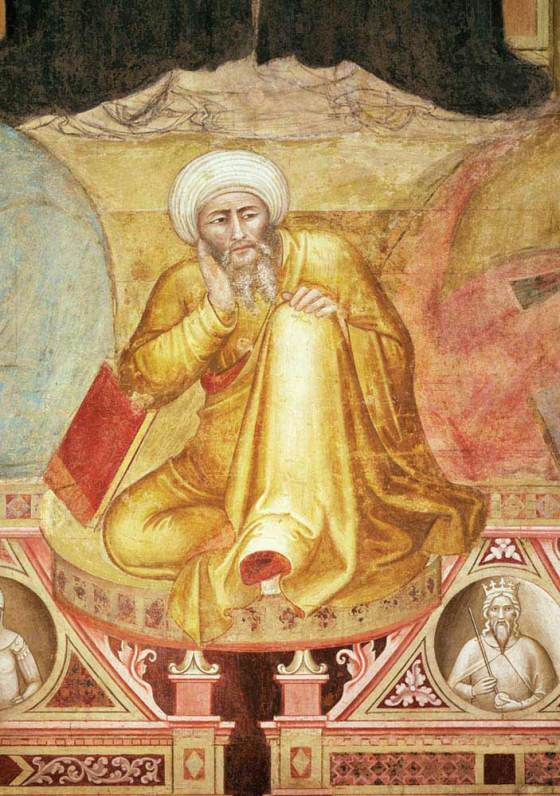 Although Thomas Aquinas and later philosophers owed Averroës a major intellectual debt, they also fiercely criticized his writings.The depiction above of the Islamic philosopher is a detail from the Triumph of St. Thomas Aquinas in Santa Maria Novella, Florence. In the fourteenth-century fresco, Andrea di Bonaiuto placed Averroës with the heretics Sabellius and Arius in the space beneath the saint's throne. Credit: The Bridgeman Art Library International
