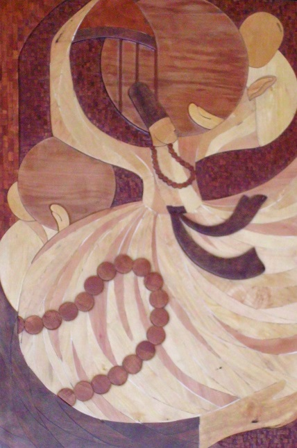 "A Turkish painting of a whirling dervish. The tasbih or the rosary which is not strictly a part of the robe worn by the whirling dervish, depicts the importance of the repetition of God or the utterance of a certain religious formula, such as the profession of faith: ""There is no God but Allah and Muhammad is his prophet.""  Phooto: Navyn Naran Collection."
