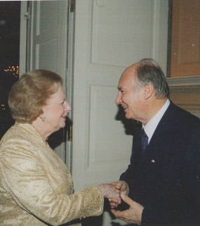 His Highness the Aga Khan, 49th Ismaili Imam and direct descendant of the Prophet Muhammad, warmly greeting Baroness Margaret Thatcher at the banquet hosted by His Highness in London on July 3, 2008 during his Golden Jubilee Celebrations. Photo: Mawlana Hazar Imam Shah Karim Al Hussani Aga Khan, Golden Jubilee Souvenir, published by Islamic Publications Limited. 2012. Copyright.