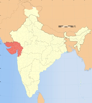 Location of Gujarat (shaded red) in India. Map credit: Wikipedia.