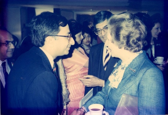 Farouk Verjee, left, with Baroness Margaret Thatcher (1925 - 2013) at the opening of the iconic Ismaili Centre in London, England, on April 24, 1985. Looking on in the centre is Anil Ishani, then President of the Ismaili Council for the UK. Photo: Farouk Verjee Collection, Vancouver, Canada.