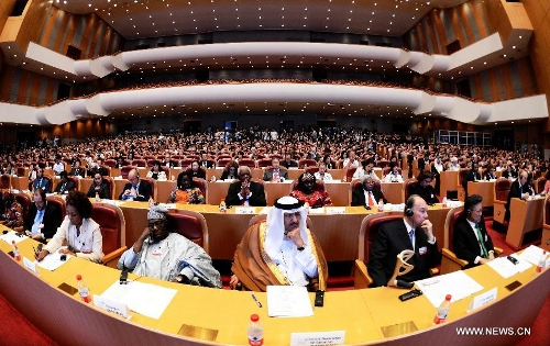 "Delegates attend the International Conference on ""Culture: Key to Sustainable Development"" in Hangzhou, capital of east China's Zhejiang Province, May 15, 2013. The three-day conference kicked off here on Wednesday, May 15, 2003. His Highness the Aga Khan is seen second from right. (Xinhua/Xu Yu)"