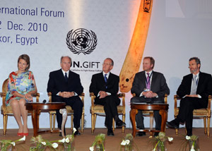 Members of the Jury attending the Award Ceremony (Luxor, 12 December 2010): HRH Princess Mathilde of Belgium, HH the Aga Khan, Mr. Antonio Maria Costa, Mr. Bjørn Haugland, Mr. Georg Kell.