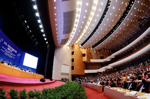 "A large international delegation at the opening ceremony of the International Conference on ""Culture: Key to Sustainable Development"" in Hangzhou, capital of east China's Zhejiang Province, May 15, 2013. Photo: Xinhua/Xu Yu. http://www.globaltimes.cn/content/781768.shtml"