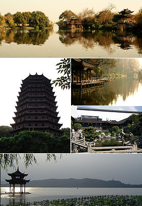 Montage of various Hangzhou images. This UNESCO Creative City for Crafts & Folk Art is home to the West Lake Cultural Landscape, a World Heritage Site. Photo: Wikipedia.