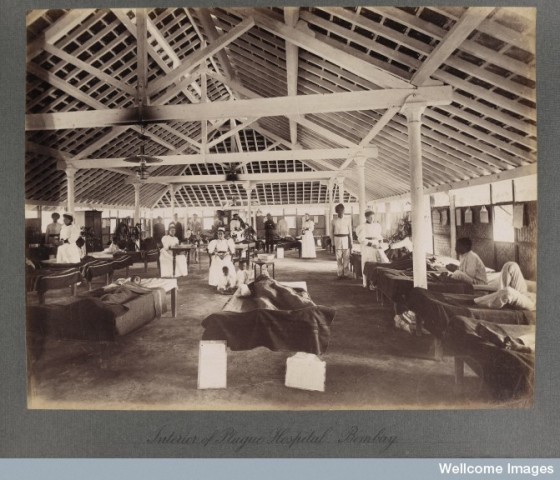 Interior of a temporary hospital for plague victims,  Bombay plague epidemic, 1896-1897 Photo Credit: Wellcome Library, London. Wellcome Images