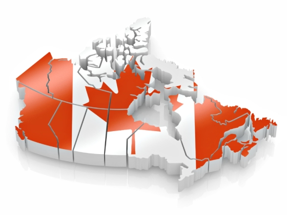 "Map of Canada in Canadian Flag Colours. Photo: Istockphoto.com. The National Flag of Canada, also known as the Maple Leaf and l'Unifolié (French for ""the one-leafed""), is a flag consisting of a red field with a white square at its centre, in the middle of which is featured a stylized, 11-pointed, red maple leaf. Adopted in 1965 to replace the Union Flag, it is the first ever specified by statute law for use as the country's national flag. Text: Wikipedia."