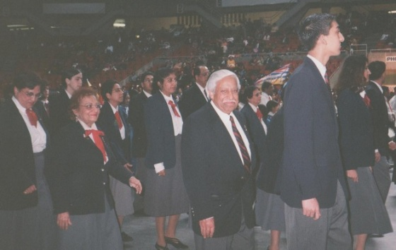 Rajabali Mecklai marching with other Ismaili volunteers at the Khushyali celebrations at the PNE in Vancouver. Photo: Rajabali Mecklai Family Collection