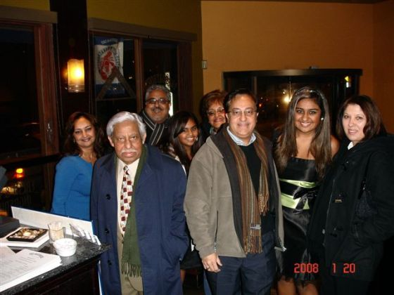 Rajabali Mecklai with members of his family during his 80th birthday party in January 2008. From left, Shaheen, Rajabali Mecklai, Karim, Keizra, Tazeem, Nasir, Safeena and Nasrin. Photo: Rajabali Mecklai Family Collection.