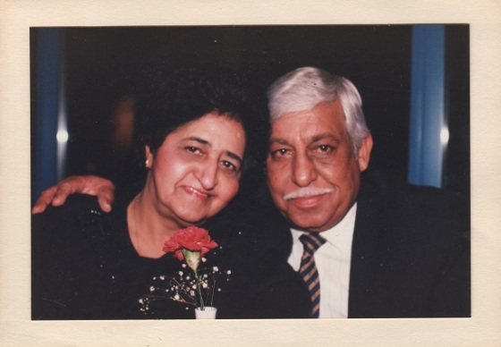 Rajabali Mecklai pictured with his late wife, Maleksultan, on December 8, 1995. She passed away a few months later, on Friday August 16 1996, at the call of prayer at Drake Jamatakhana in downtown Vancouver. Photo: Rajabali Mecklai Family Collection.