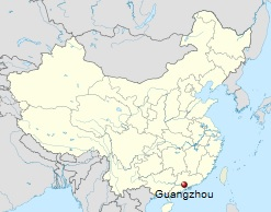 Location of Guangzhou in China. Historically know as Canton, it is the 3rd largest city in Chine with a population of over nearly 13 million. Map: Wikipedia