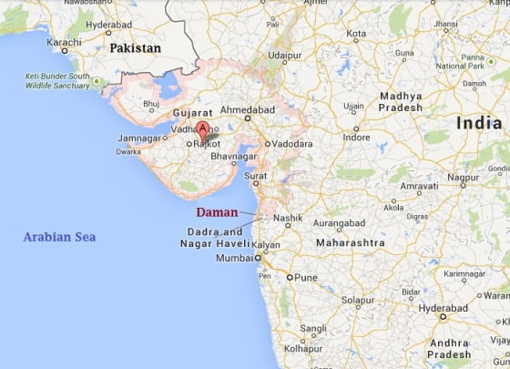 The small city of Daman (pop. appx. 40,000) is located about 193 kms North of Mumbai.