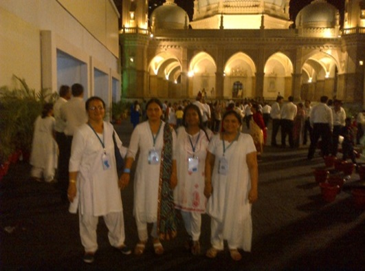 Author of this piece, Toral Pradhan, left, pictured with Shamshad, Anisha and Shahbanu at Hasanabad where they all served as volunteers during Mawlana Hazar Imam's visit to India. Photo: Toral Pradhan Collection.