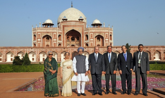 The Humayun Tomb, the resting place of the second Mughal emperor and a precursor to the Taj Mahal,forms a backdrop in this picture taken during the inauguration ceremony on September 18, 2013 which was attended by the Chief Guest, the Prime Minister of India, Dr Manmohan Singh, His Highness the Aga Khan, the Minister of Culture, Chandresh Kumari Katoch, Chairman Ratan Tata of the Sir Dorabji Tata Trust and Prince Hussain Aga Khan. Photo: The website of the Prime Minister of India.
