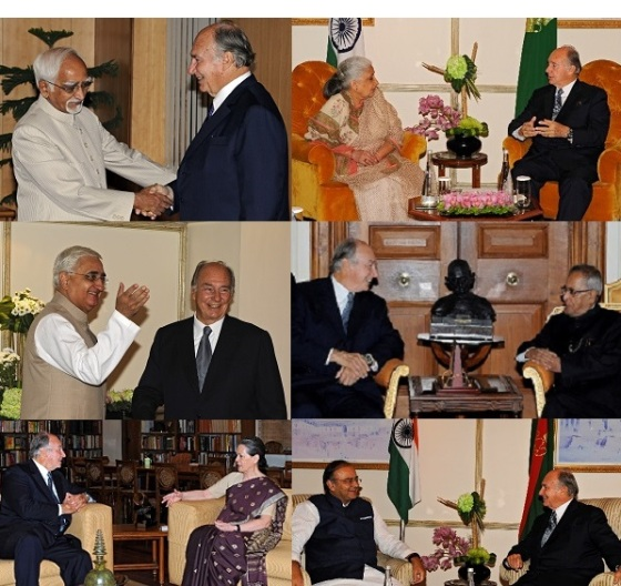 His Highness the Aga Khan with Indian leaders during his visit to the country in September 2013. Clockwise (from top left) the Honourable Vice President of India, Mohammad Hamid Ansari; Shrimati Chandresh Kumari Katoch, India's Minister of Culture; His Excellency the Honourable Pranab Mukherjee, President of India; The Honourable Arun Jaitley, Leader of the Opposition in the Rajya Sabha (upper house) of India; Sonia Gandhi, Chairperson of the United Progressive Alliance; the Honourable Salman Khurshid, External Affairs Minister of India, Photos: AKDN/Gary Otte