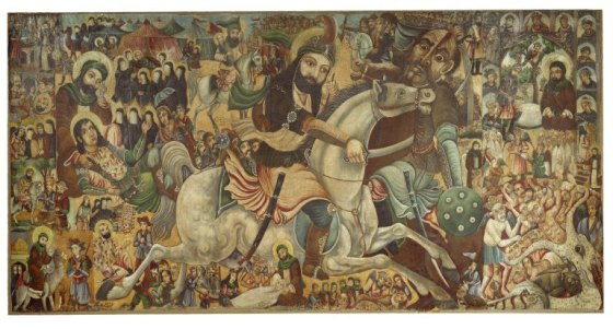 This oil on canvas painting by Abbas Al-Musavi commemorates the martyrdom of Imam Husayn at the Battle of Karbala. Its focus is his half brother Abbas ibn Ali on a white horse. This image was uploaded into Wikipedia Commons as a donation by the Brooklyn Museum. The image is a faithful photographic reproduction of a two-dimensional, public domain work of art. Please click on image for article on Imam Hussein.