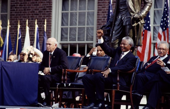 F.W. de Klerk, left, the last president of apartheid-era South Africa, and Nelson Mandela, his successor, wait to speak in Philadelphia, Pennsylvania, IN 1993. Credit line: Photographs in the Carol M. Highsmith Archive, Library of Congress, Prints and Photographs Division.