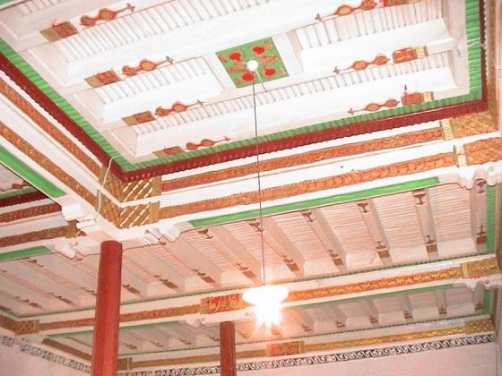 Carved ceiling of Poskam jamatkhana. Photo: Ghulam Panjwani Collection.