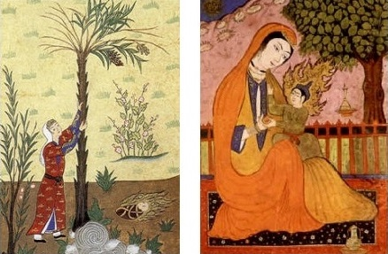 "Left: Virgin Mary nurtured by a palm tree in a Turkish miniature, as described in the Qur'an; right: Mary and Jesus in a Persian miniature. Please click on image for Michael Wolfe's article ""Jesus Through a Muslim Lens."" Images: Wikipedia."