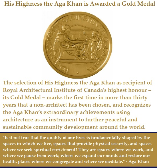 Please click on image for a report of the RAIC Gold award ceremony on November 27, 2013 in Ottawa, Canada.