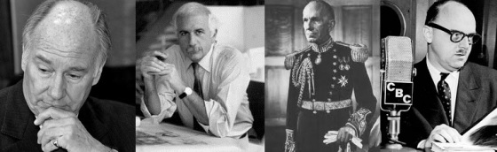 Four of the thirty recipients of the RAIC Gold Medal since the awards began in 1967 - (l to r) His Highness the Aga Khan (2013), Moshe Safdie (1995), the Right Honourable Vincent Massey (1968), and Mayor Jean Drapeau (1967.