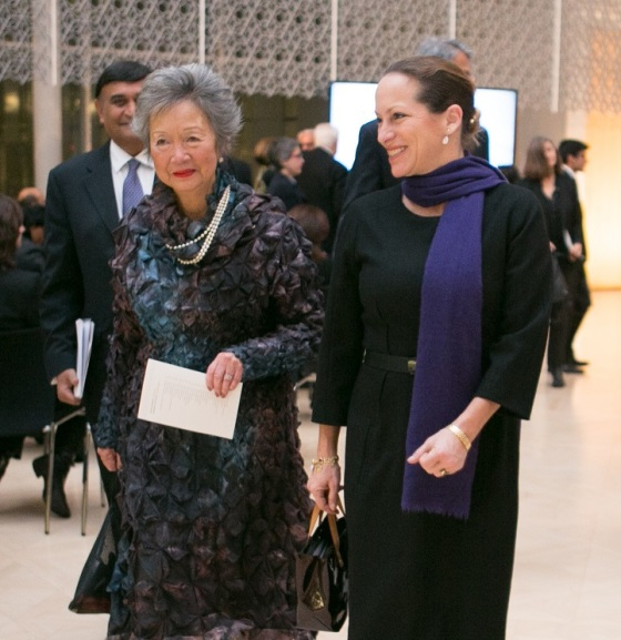 The Right Honourable Adrienne Clarkson (left), Canada's 26th Governor General from 1999-2005, and Princess Zahra Aga Khan, daughter of His Highness the Aga Khan, pictured as they leave for the reception ceremony after the Gold Medal Award ceremony. Photo: © AKDN/Mo Govindji.