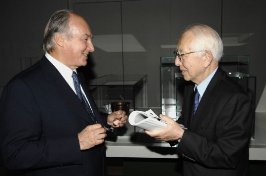 His Highness the Aga Khan with architect Fumihiko Maki at an Aga Khan Museum Exhibition held at the Louvre in 2007. The renowned Japanese architect has served twice on the Master Jury of the Aga Khan Award for Architecture, and designed both the Delegation of the Ismaili Imamat Building in Ottawa which was opened in 2008 and the new Aga Khan Museum in Toronto expected to open in 2014. Photo: AKDN/Gary Otte