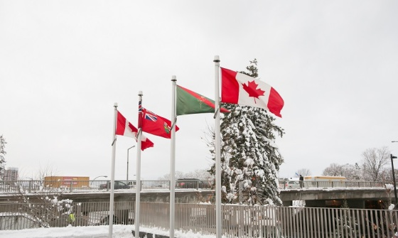The Canadian Maple Leaf flag at either end with the flags of Ontario and the striped red and green flag of the Ismaili Imam located at the east front end of the Delegation of the Ismaili Imamat Building located on Sussex Drive in Ottawa. The RAIC presented a gold medal to His Highness the Aga Khan for his significant contribution to Canadian architecture. Iconic Ismaili Imamat buildings in Canada include the Delegation Building (Ottawa, 2008), the Ismaili Centre (Burnaby, 1985), the Aga Khan Museum, the Ismaili Centre and their Park (all in Toronto, expected to open in 2014), and the public parks in Edmonton and Vancouver (both forthcoming). In addition, the old War Museum on Sussex Drive in Ottawa will host the Centre of Pluralism. The Ismaili community has other fine houses of worship known as Jamatkhanas in many cities and town across Canada. Photo: © AKDN/Mo Govindji.