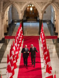 Prime Minister Stephen and His Highness the Aga Khan at the Parliament of Canada.