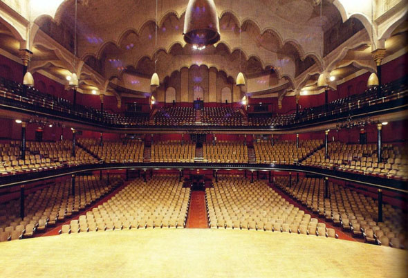 Massey Hall is a performing arts theatre in the Garden District of downtown Toronto. The theatre originally was designed to seat 3,500 patrons but, after extensive renovations in the 1940s, now seats nearly 2800. Photo via blogto.com.