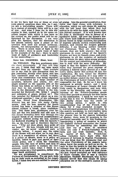 "Sample of Hansard from The House of Commons, 1895. Shows sample of several members speaking as described in the text. The Canadian Hansard is not strictly verbatim, and is guided by the principle of avoiding ""repetitions, redundancies and obvious errors."" Photo: Wikipedia."