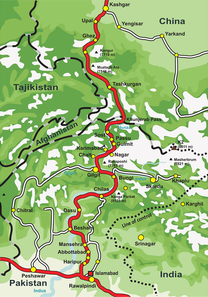Map of Karakoram Highway, the road that links the Northern Areas of Pakistan to the Xinjiang province of China, connecting it to the old Silk Road. Map Credit: Wikipedia.