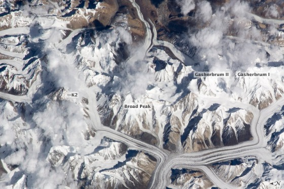 This photograph from the International Space Station shows  the central Karakoram, the highest concentration of 8,000-meter mountains on Earth. The K2 in this range is among the most dangerous 8000 metre mountains to climb. Photo Credit: NASA/JSC Gateway to Astronaut Photography of Earth).
