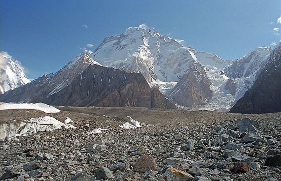 Broad Peak - also known as K3, is the 12th highest mountain on Earth, with an elevation of 8,051 metres (26,414 ft). Photo: Wikipedia