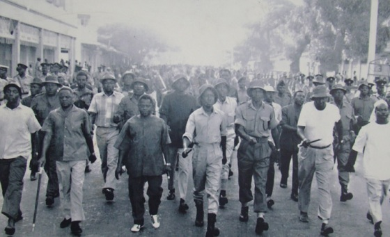 President Julius Nyerere and his fellow countrymen in a march following the announcement of the Arusha Declaration of 1967. Many such marches were held across the country to connect people with the Tanzanian leader's vision of socialism to develop the nation's economy. Over the years the Declaration became hugely unpopular politically and socially and was abandoned.