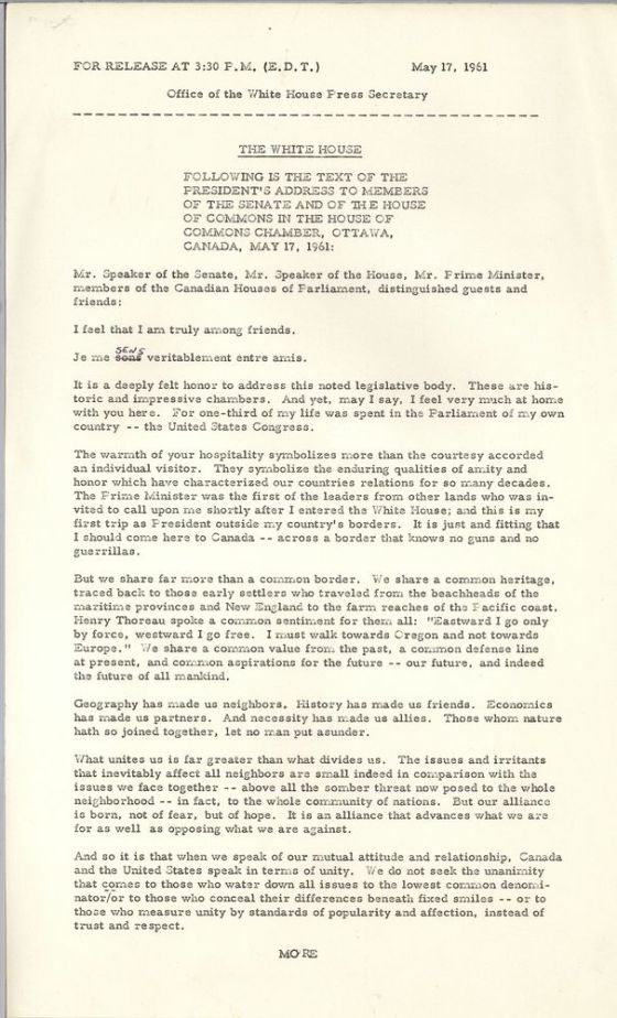An image of the original text of address by President John F. Kennedy to Canadian Parliament, Ottawa, 17 May 1961. Credit: John F. Kennedy Presidential Library and Museum