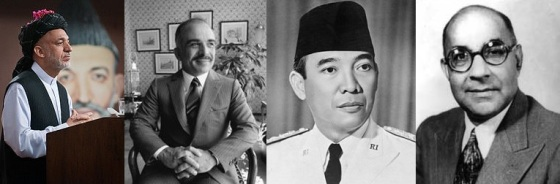 2006 - Hamid Karzai, 1989 - His Majesty King Hussein Ibn Talal, 1956 - His Excellency Dr. Sukarno, 1950 - Hon. Liaquat Ali Khan. Photos: Wikipedia.