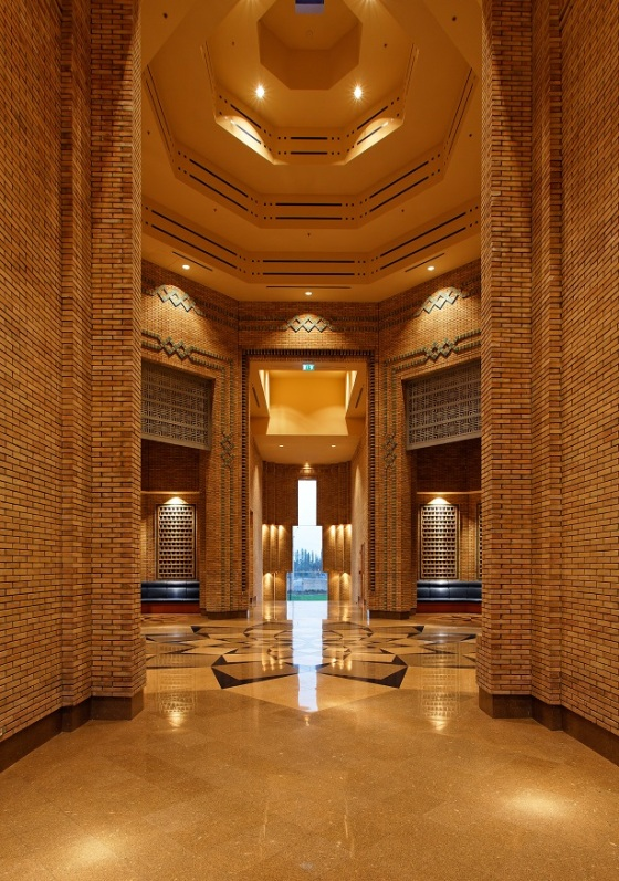 View into entry foyer of the Ismaili Centre in Dushanbe. Please click on image for exclusive photos. Photo: FNDA Architecture Inc. Copyright.