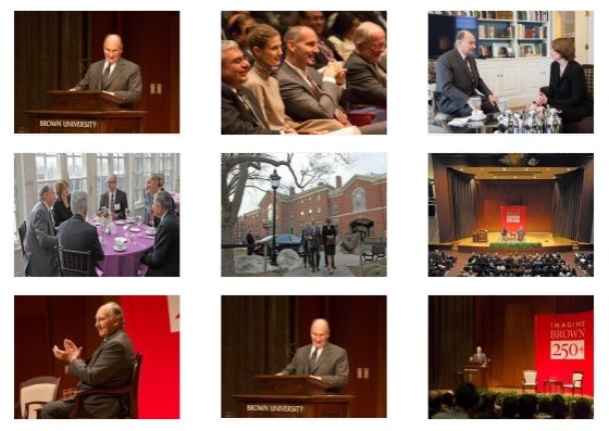 A collection of thumbnails from His Highness the Aga Khan's visit to Brown University to deliver the Ogden lecture on the occasion of the University's 250th anniversary.